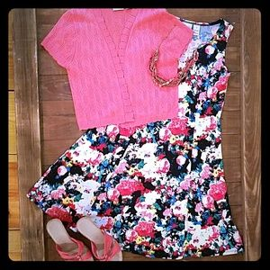 Kim Rogers Floral Sleeveless Dress with Shrug Size